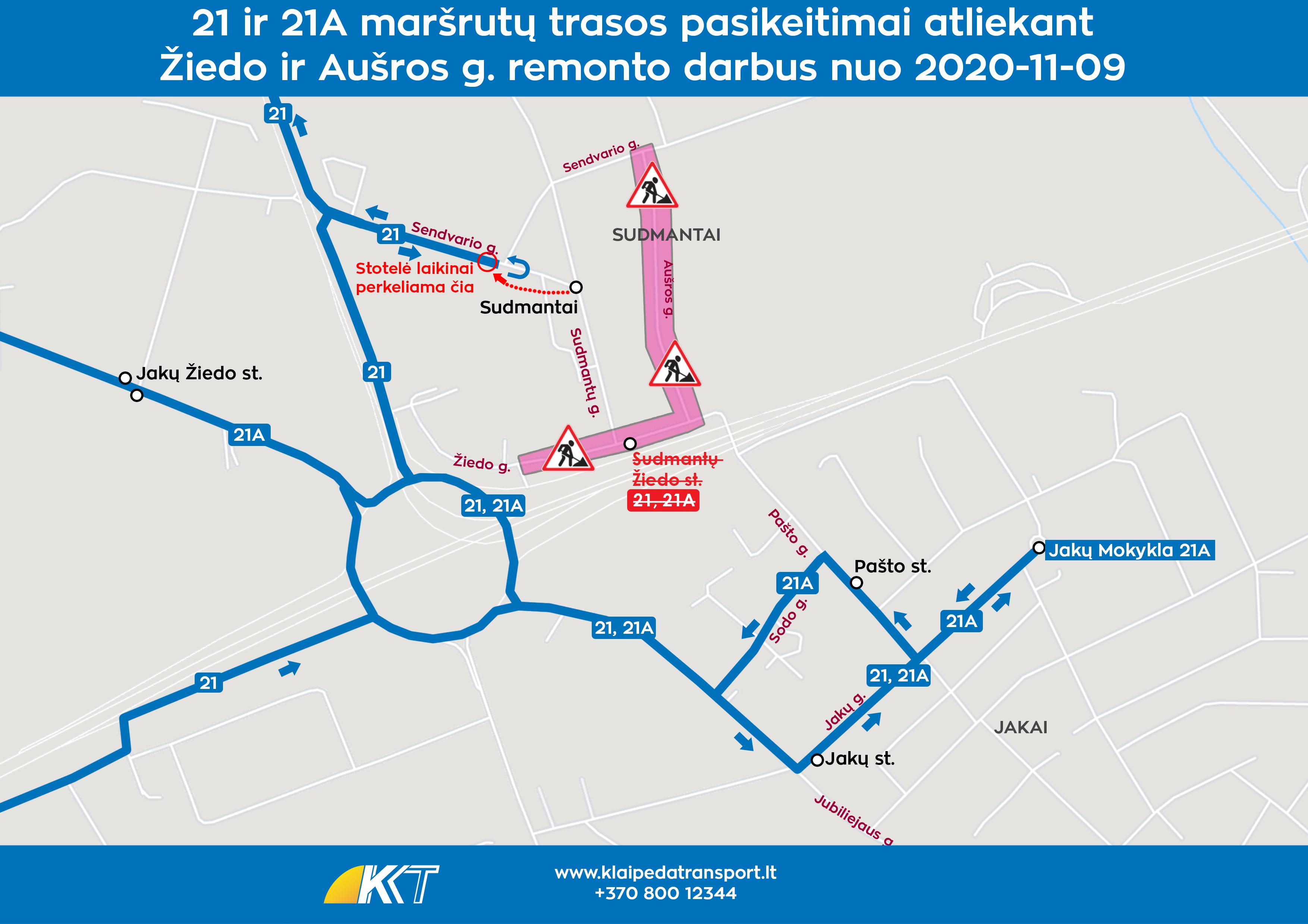 2020-11-09 21 21A maršrutai remontas Sudmantuose