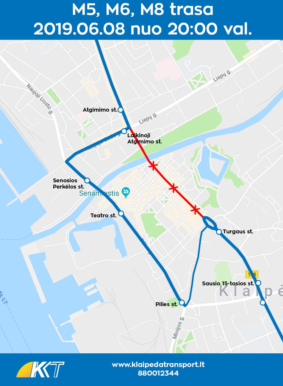 M5, M6, M8 maršrutų trasa džiazus 20190608
