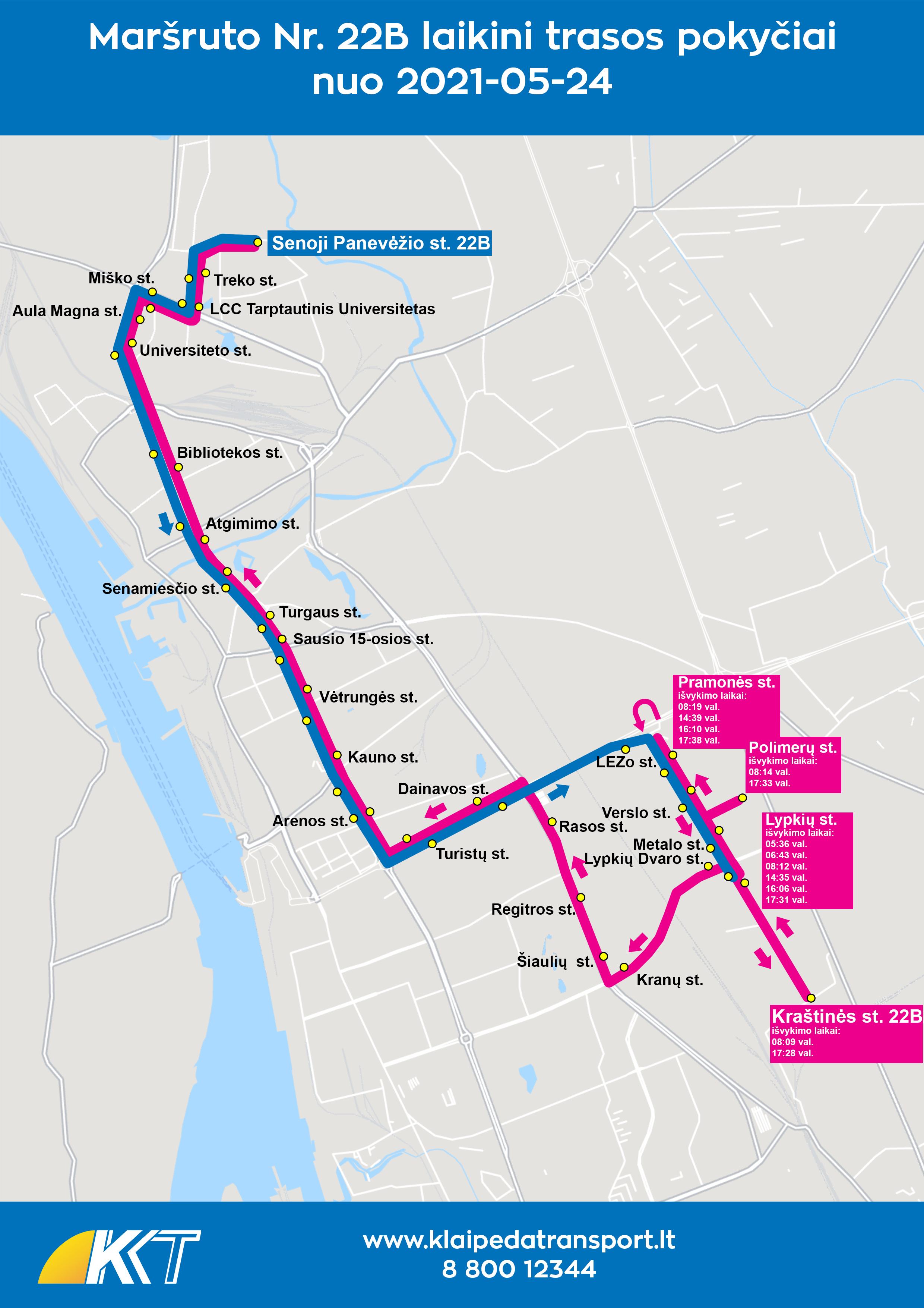 22B maršrutas per Lypkių g. nuo 2021-05-24