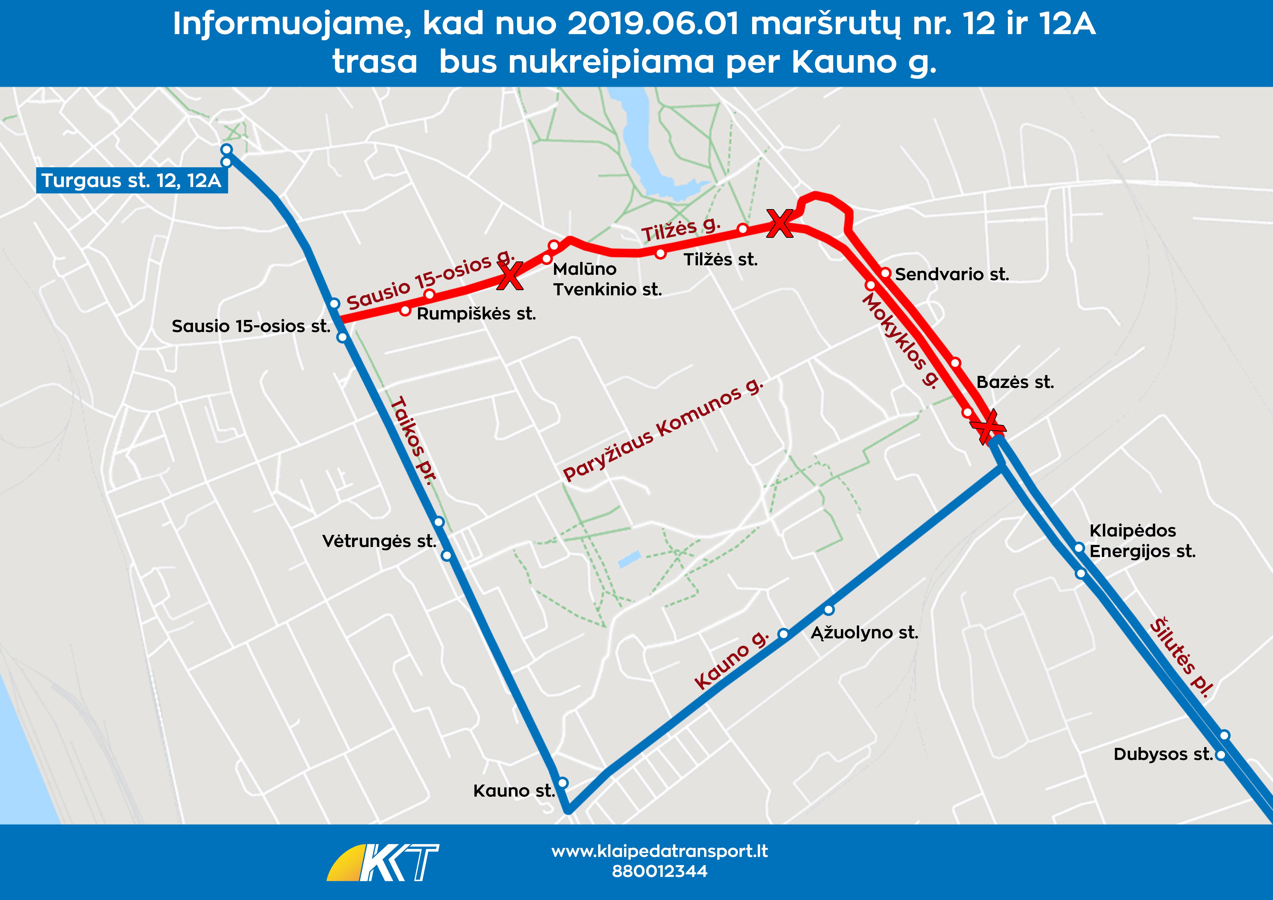 12, 12A maršrutas per Kauno g nuo 20190601