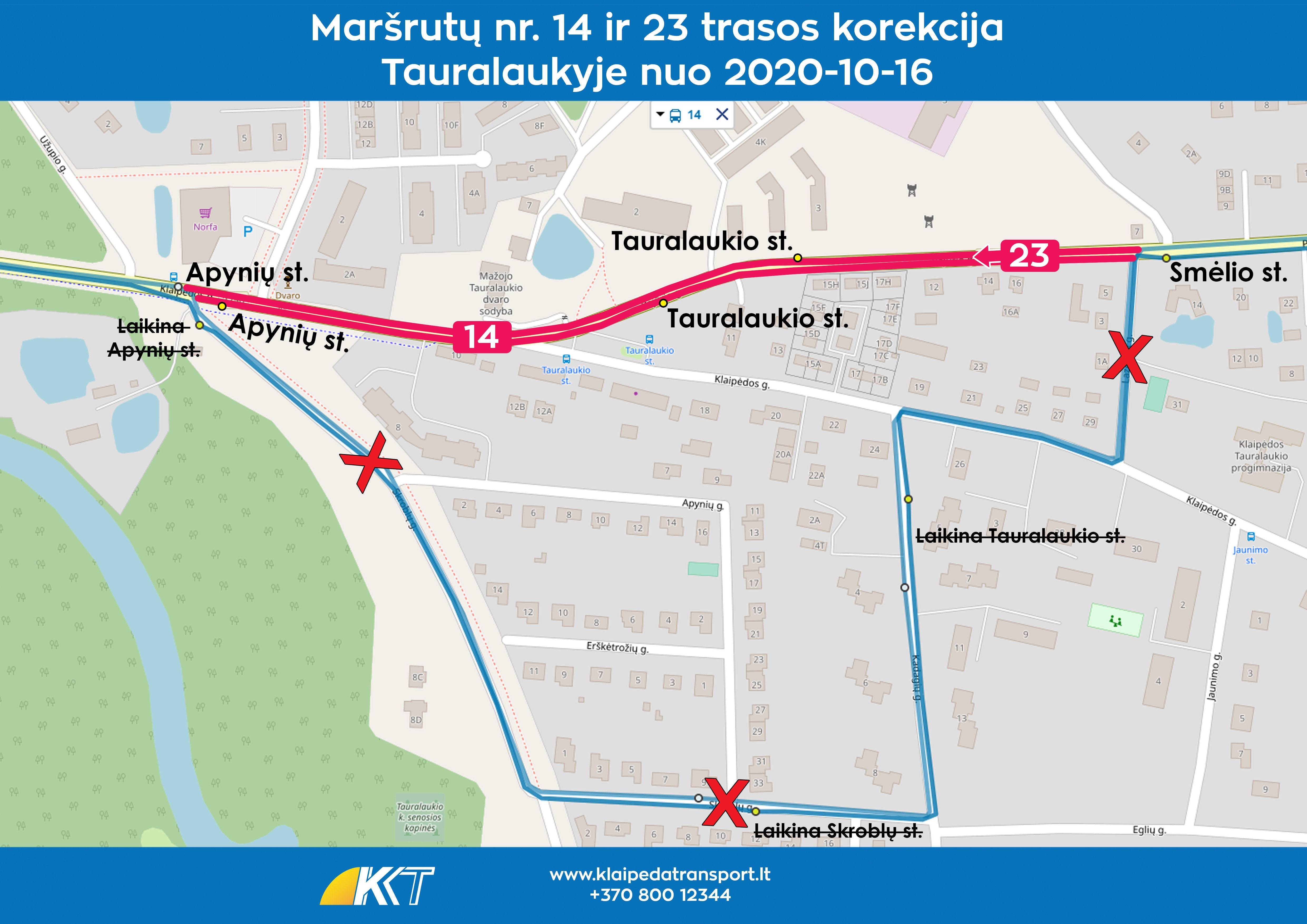14 ir 23 2020 maršrutų trasos pasikeitimai 2020-10-16