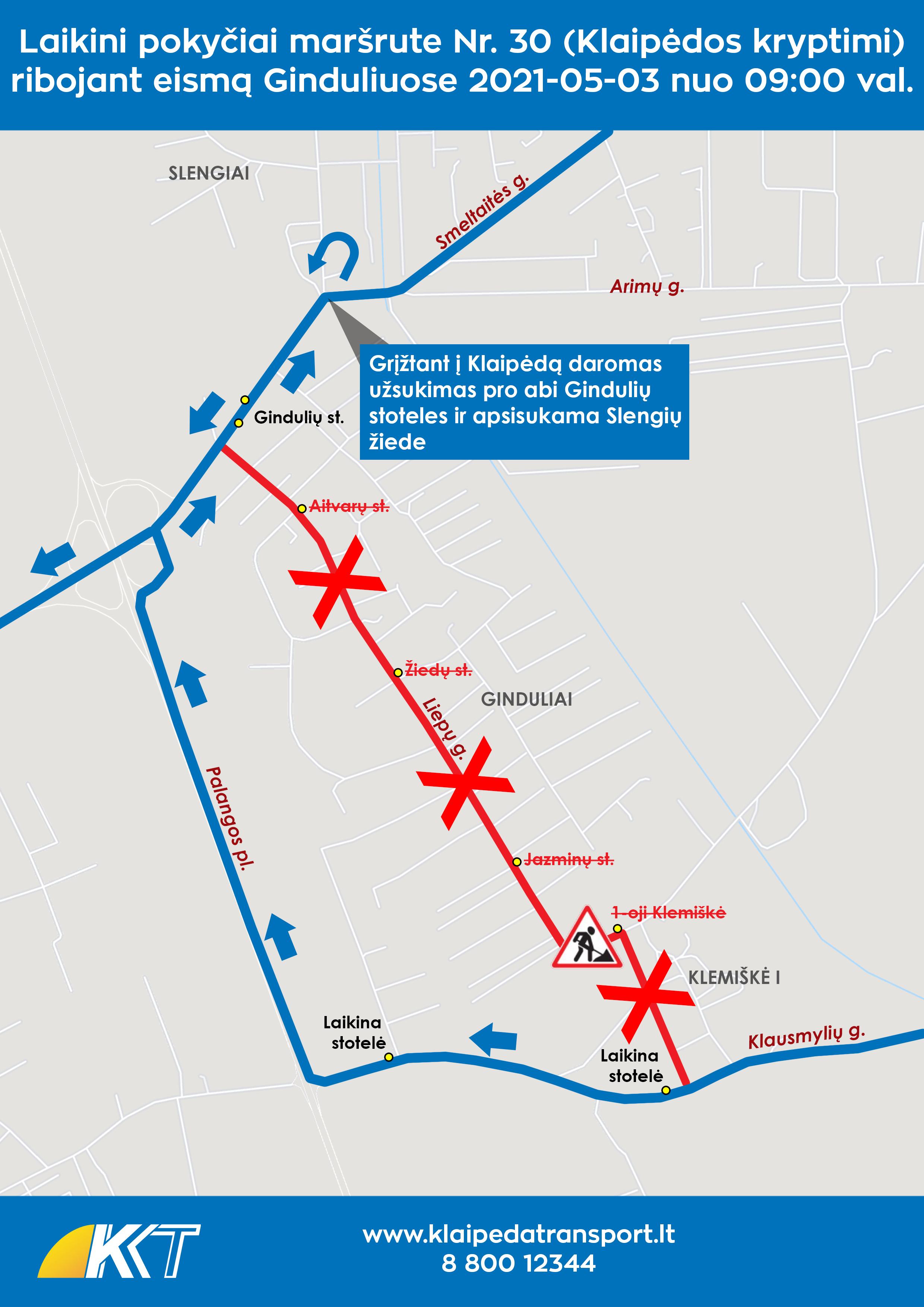 2021-05-03 30 maršrutas - kelio darbai Ginduliuose