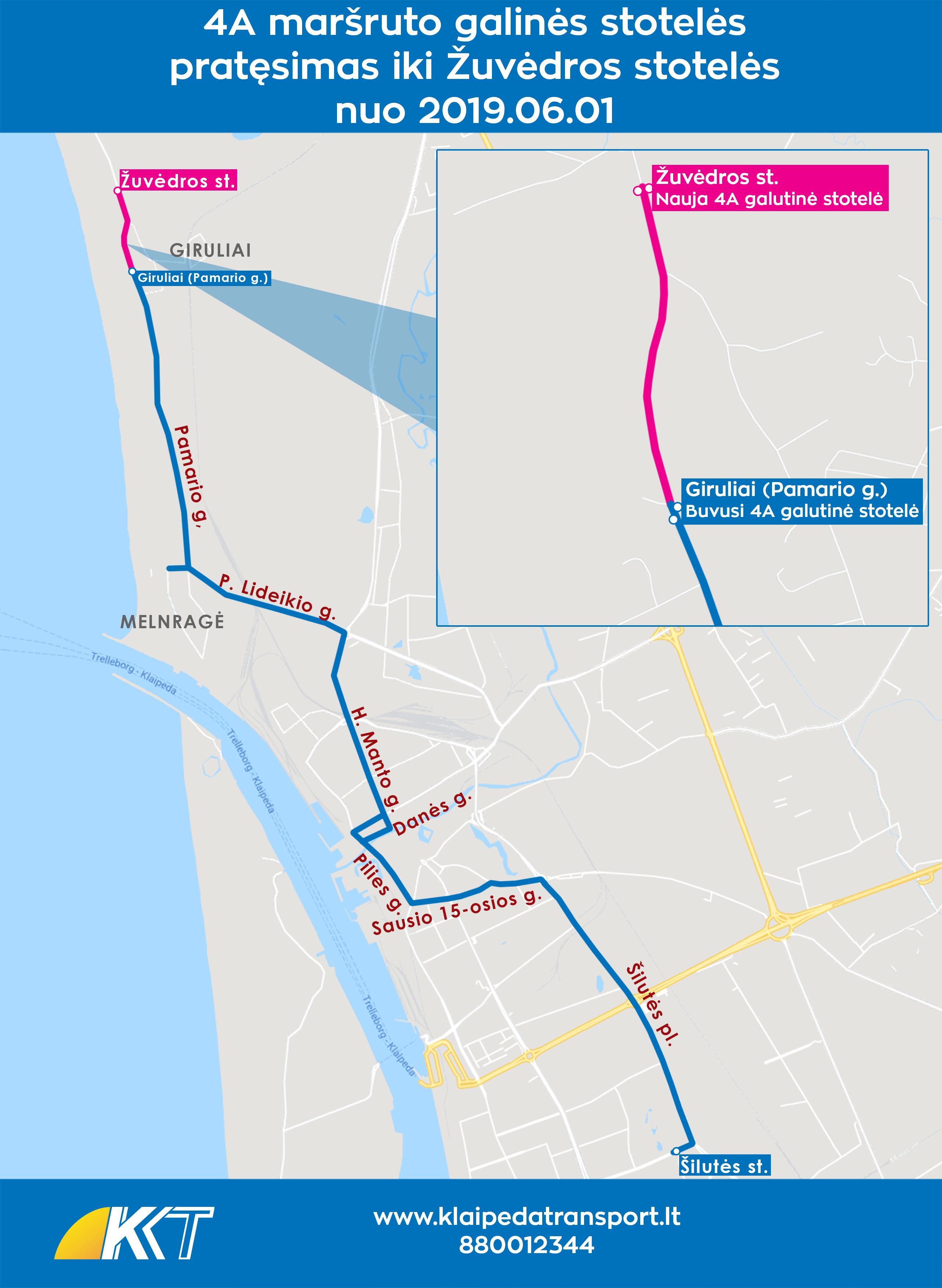 4A maršruto pratęsimas iki Žuvėdros stotelės