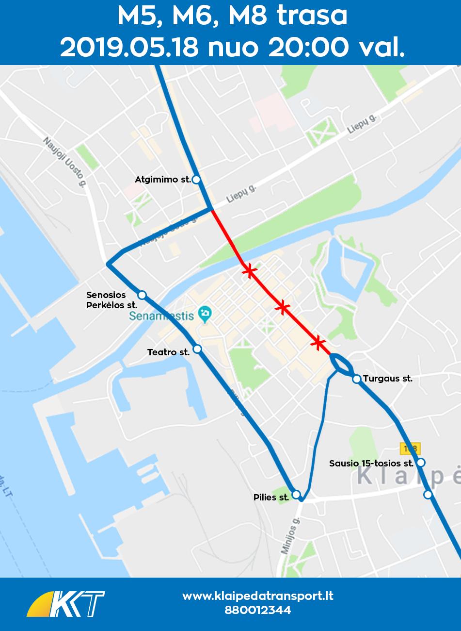 M5, M6, M8 maršrutų  trasa per Laivų paradą